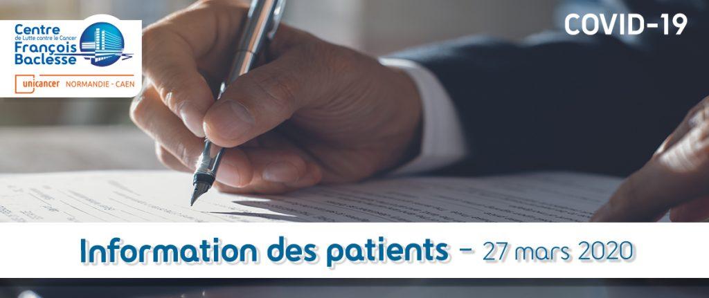 Information des patients : 27 mars 2020