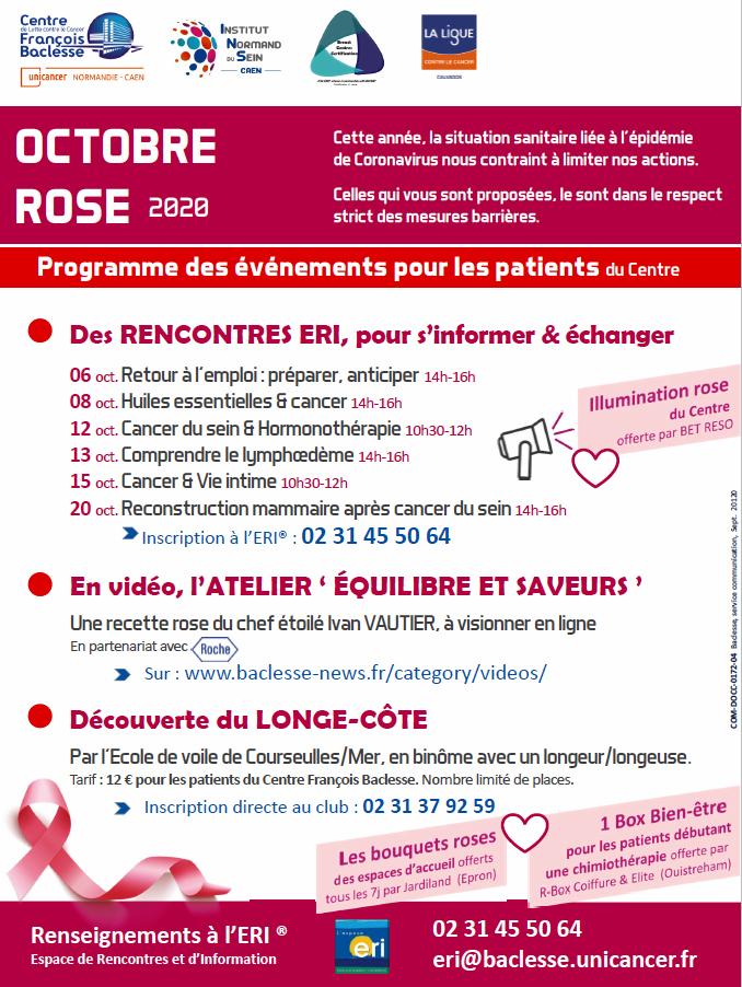 Octobre rose 2020 : programme du Centre François Baclesse