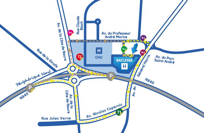 Image du plan d'accès vers l'entrée du Centre François Baclesse